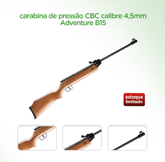 Carabina de Pressão CBC Calibre 4,5mm Adventure B15 - Tiros Esportivos ? Magazine Luiza